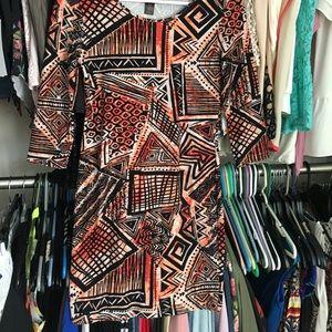 Dresses & Skirts - Orange and black Aztec patter bodycon dress